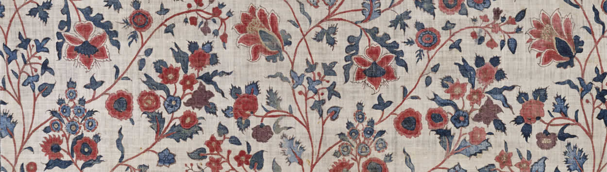 Portion of fabric showing roses.